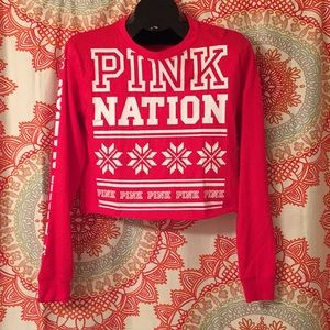 Victoria's Secret PINK XS Christmas Crop Top